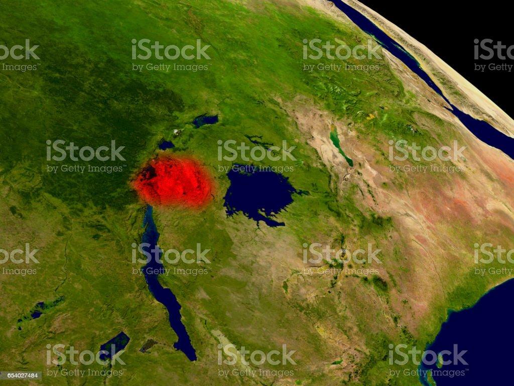 Rwanda from space stock photo