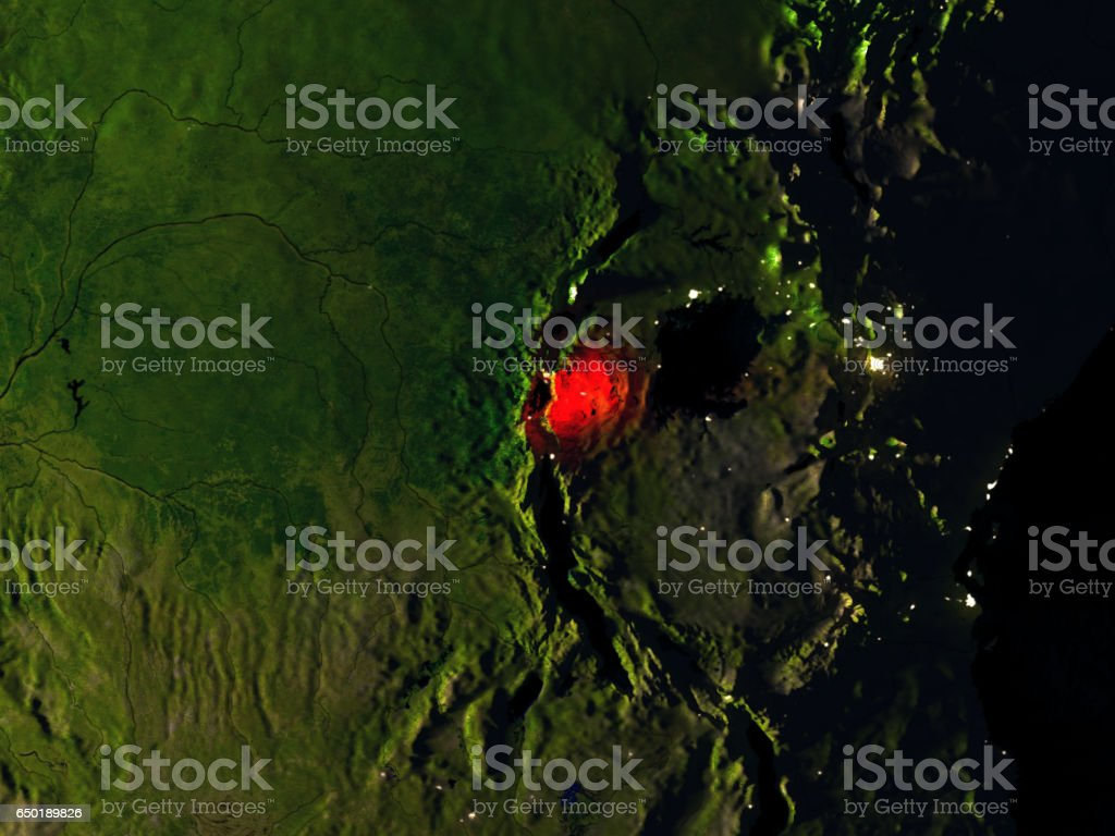 Rwanda in red from space at night stock photo
