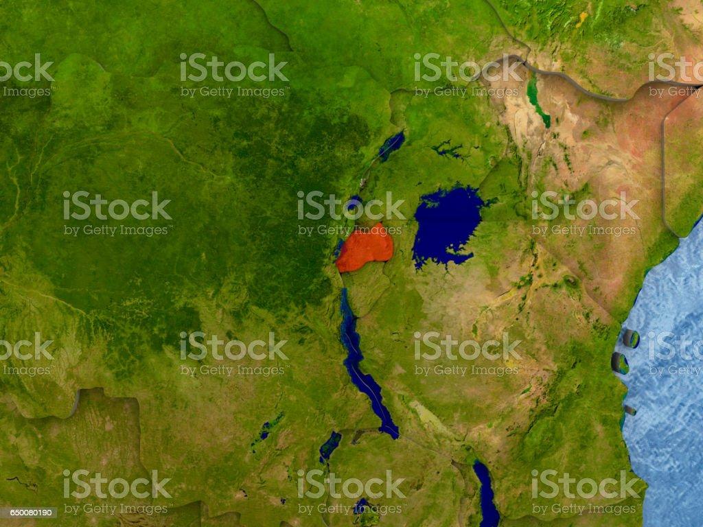 Rwanda in red stock photo