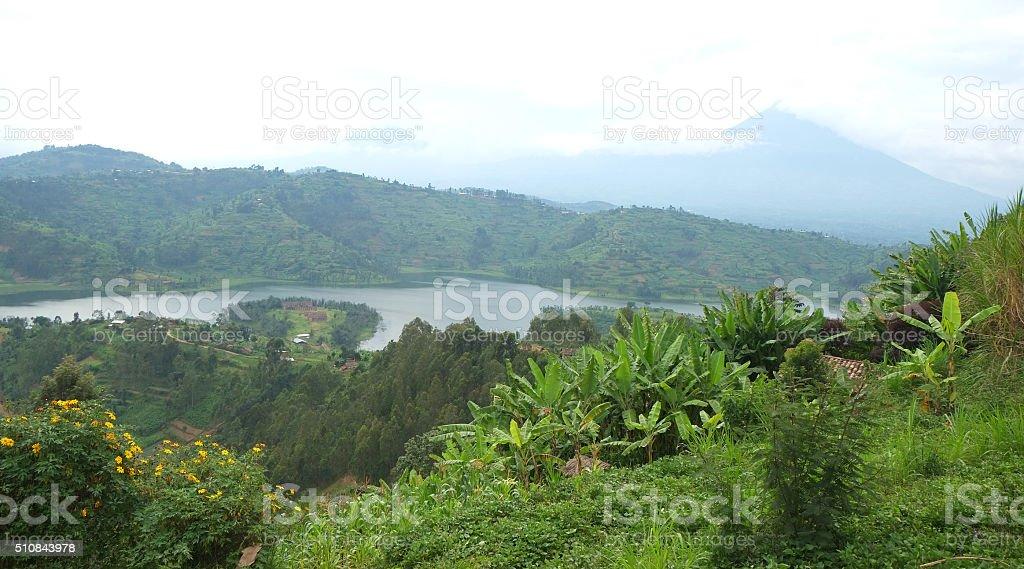 Rwanda: Lake Ruhondo at the foot of Virunga volcanos stock photo