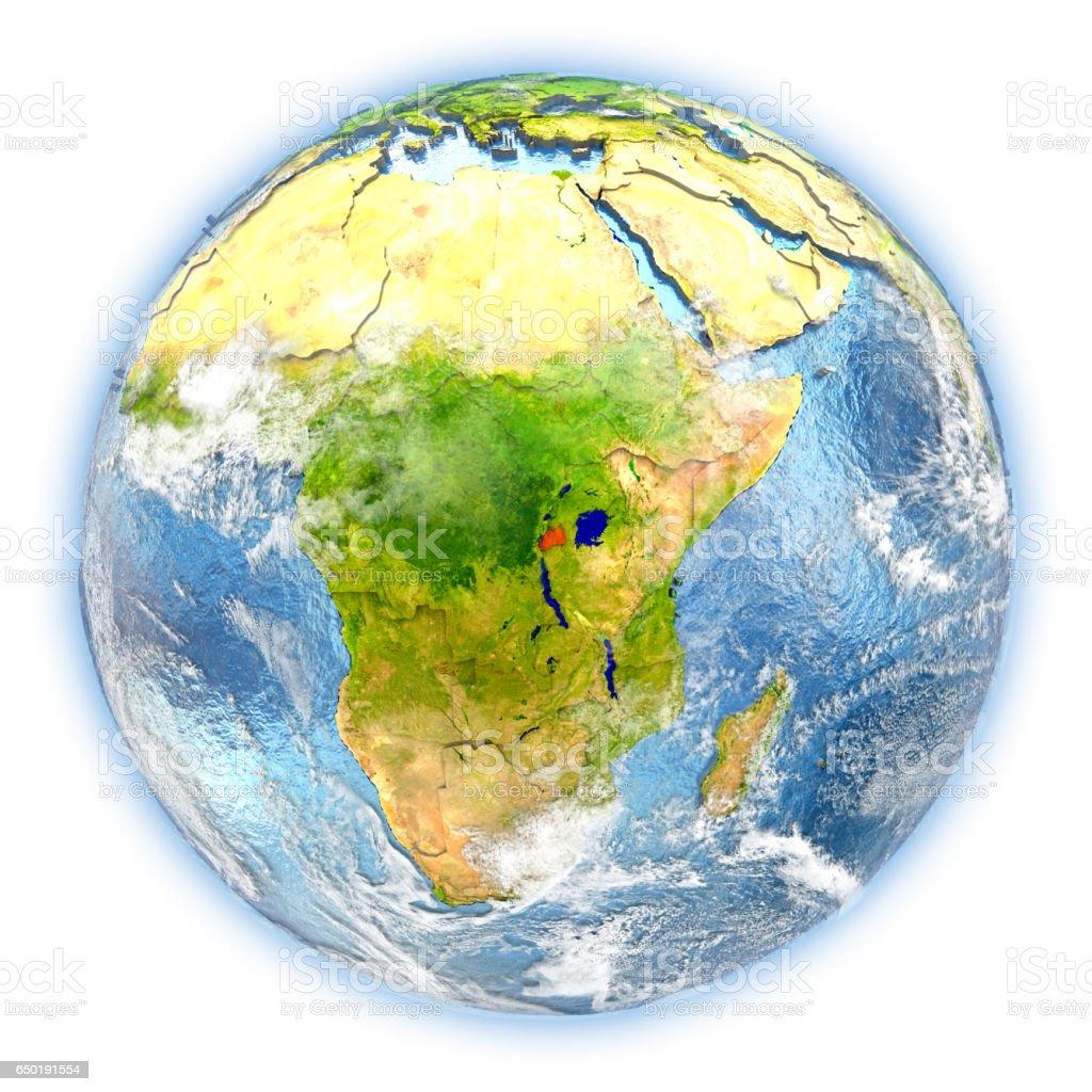 Rwanda on Earth isolated stock photo
