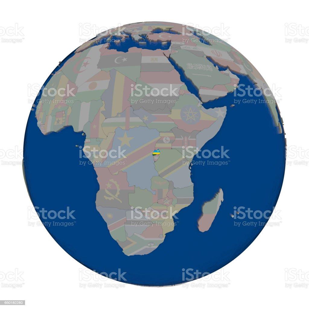 Rwanda on political globe stock photo