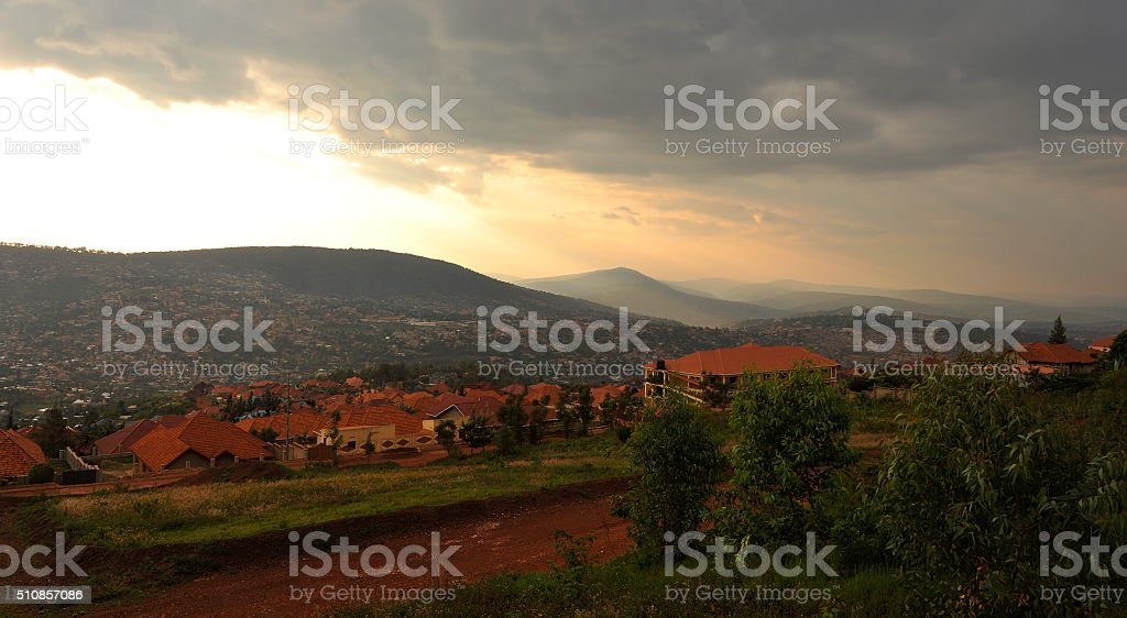 Rwanda: sunset on Kigali from the Rebero hill stock photo