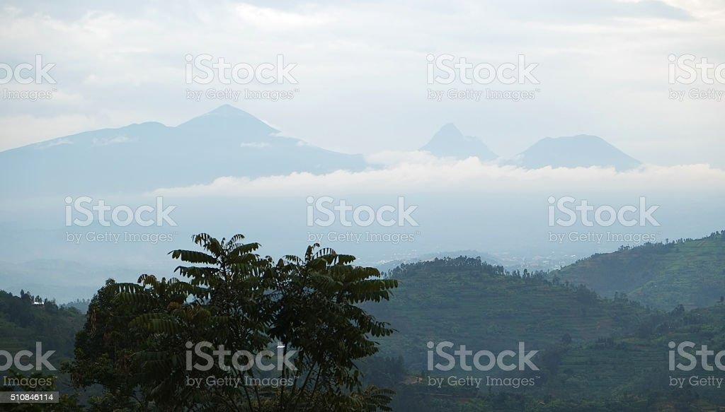 Rwanda: The north of the country and Virunga volcanos stock photo