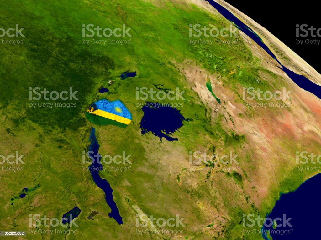 Rwanda with flag on Earth stock photo