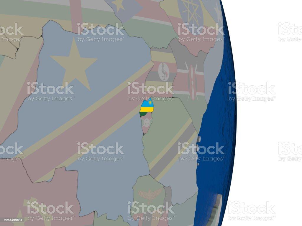 Rwanda with its flag stock photo