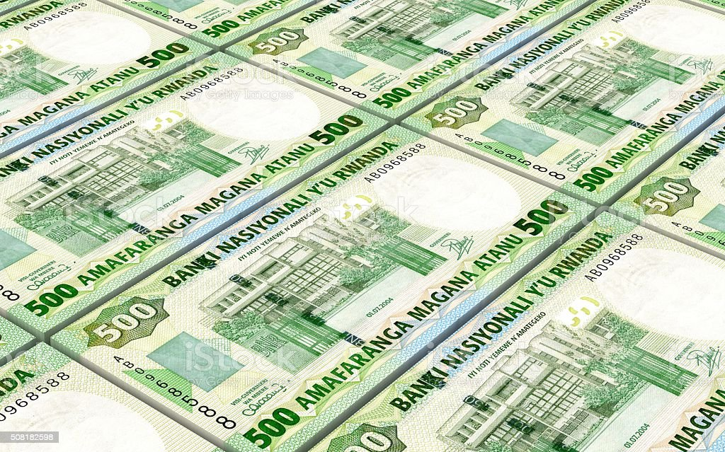 Rwandan francs bills stacked background. stock photo