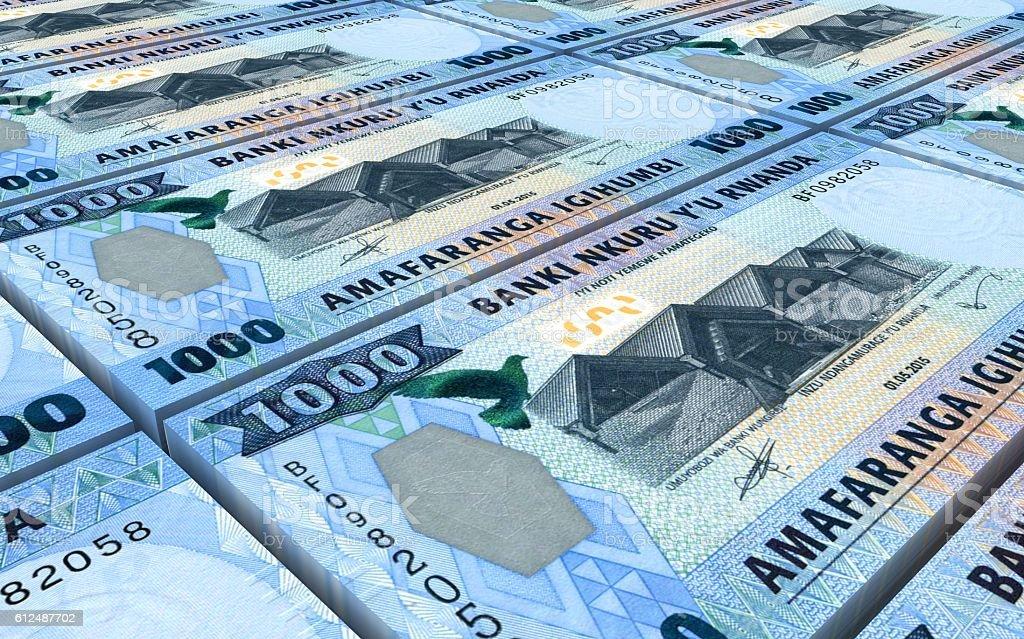 Rwandan francs bills stacked background. stock photo