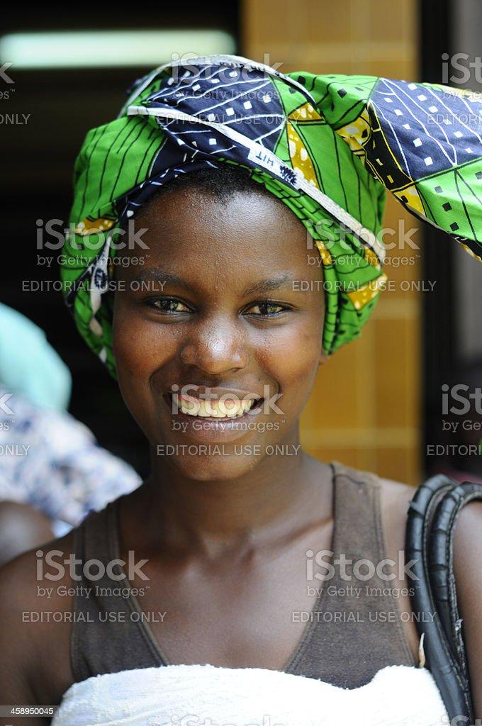 Rwandese mother waiting at hospital stock photo