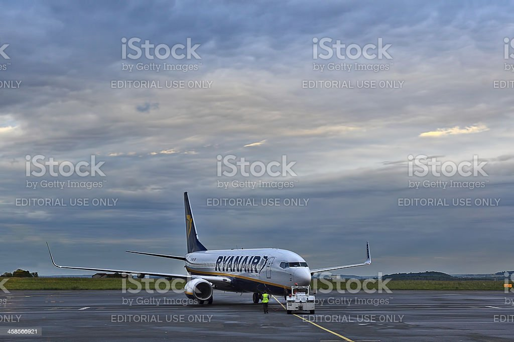 Ryanair aircraft on departure. stock photo