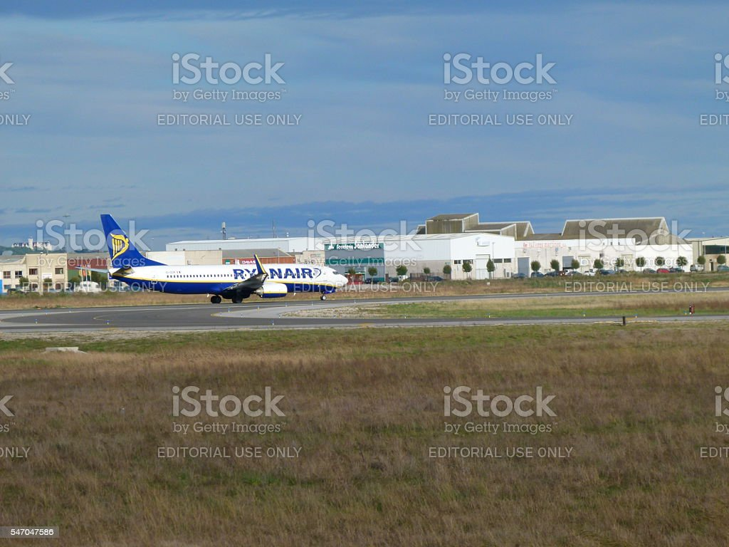 Ryanair airplane about to depart stock photo