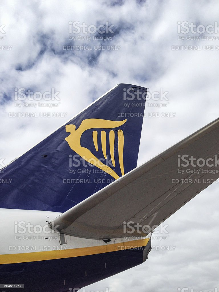 Ryanair airplane Boeing 737-800 before the take off stock photo