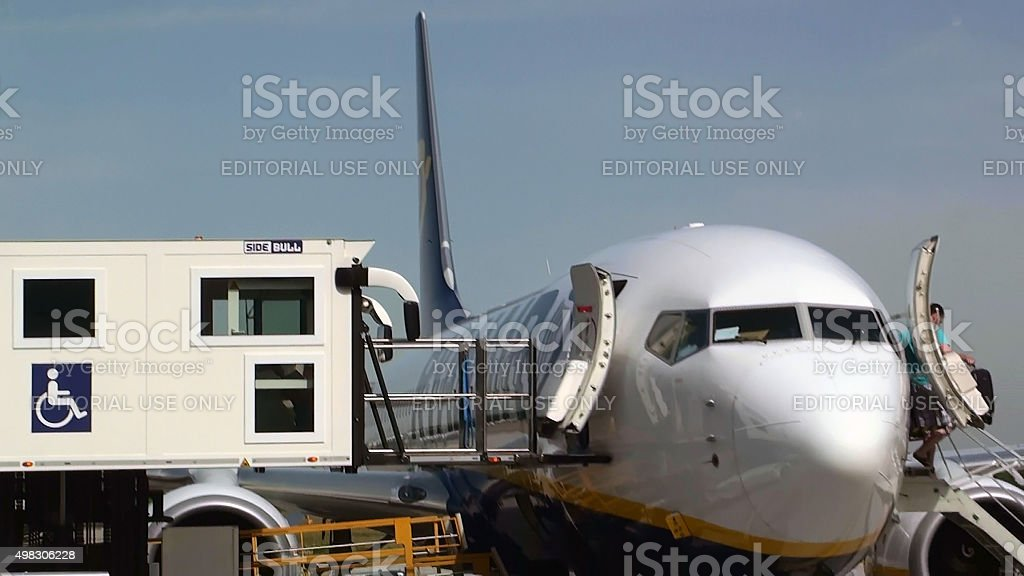 Ryanair Airplane Fixed With Aircraft Disabled Passenger Boarding Vehicle.Eindhoven Airport stock photo