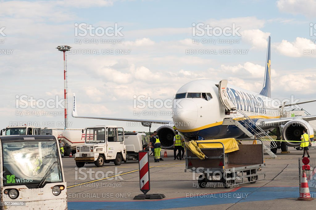 Rome, Italy - July 4, 2016: Ryanair airplane front view stock photo