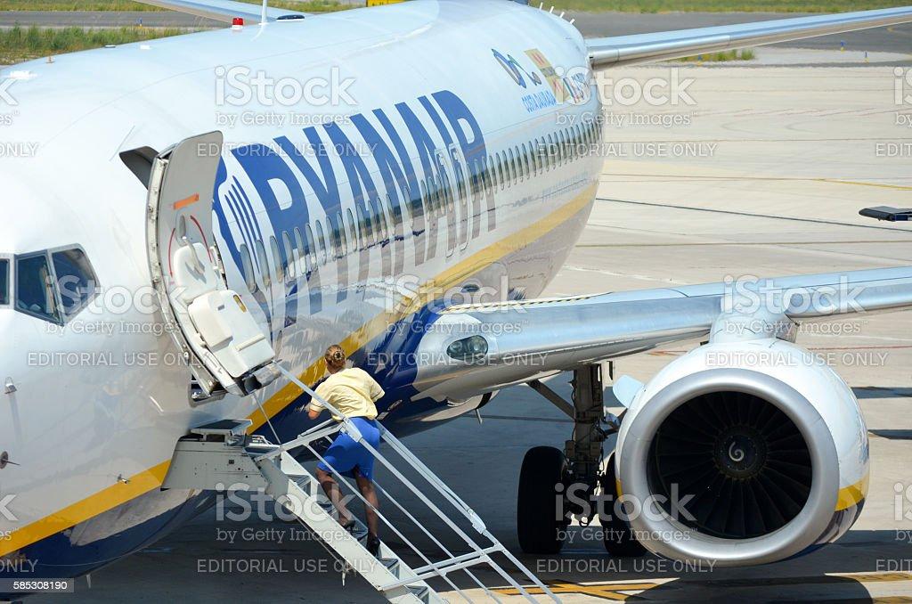 Ryanair airplane stock photo