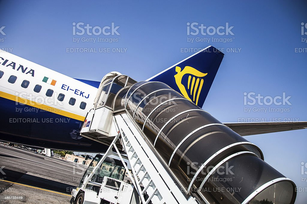 Ryanair airplane ready for departure stock photo