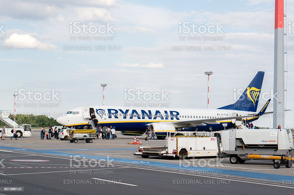 Rome, Italy - July 4, 2016: Ryanair airplane side view stock photo