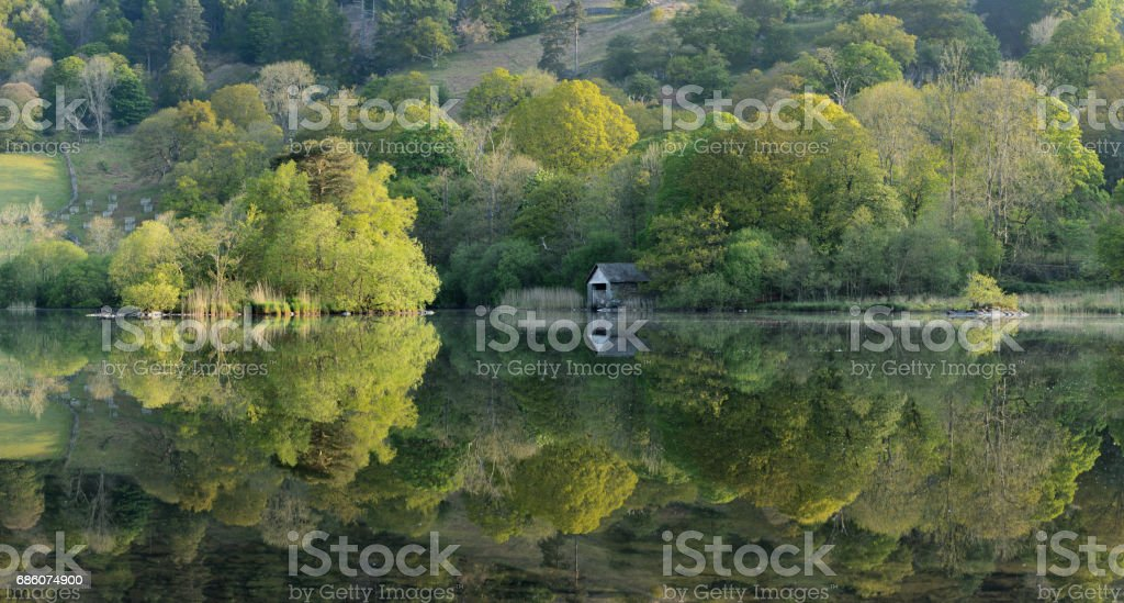 Rydal Water Reflections In The Lake District. stock photo