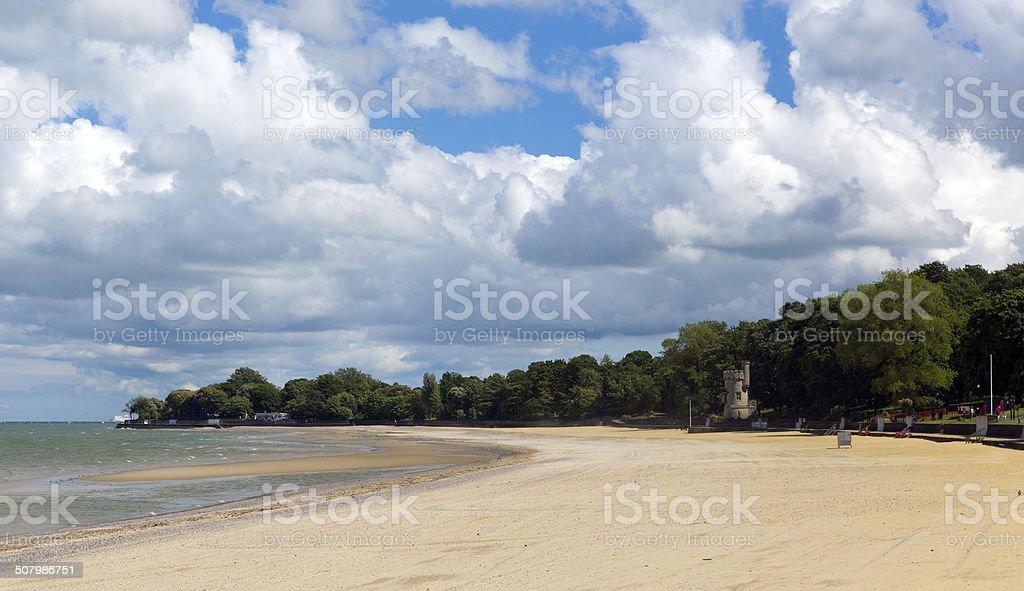 Ryde beach Isle of Wight blue sky sunshine in summer stock photo