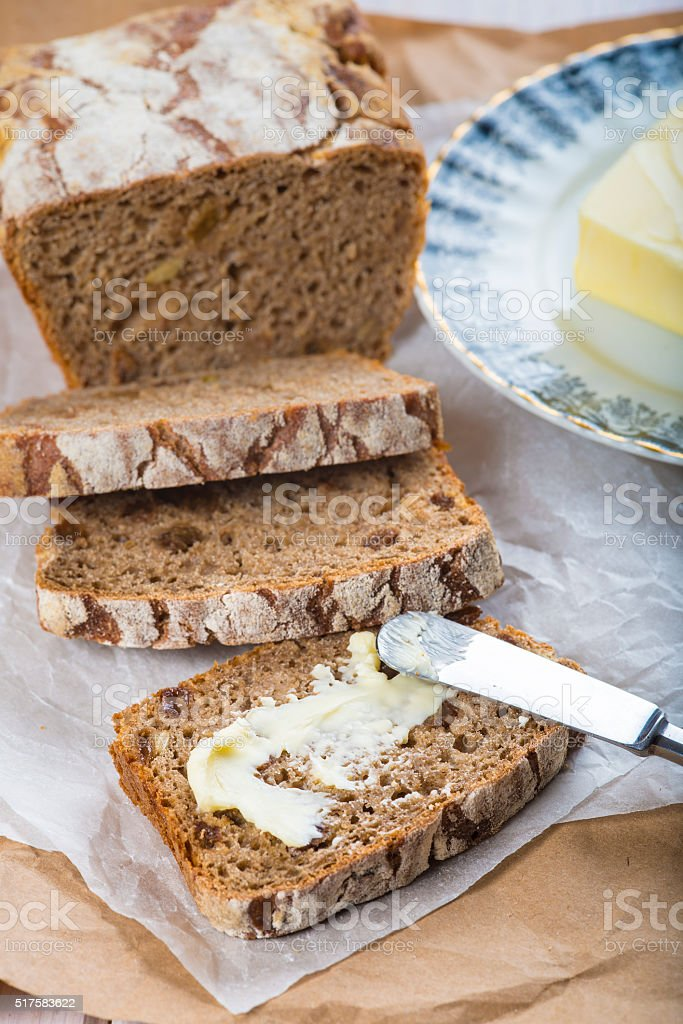 Rye bread and butter stock photo
