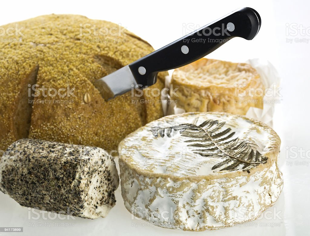 Rye bread and french cheeses stock photo