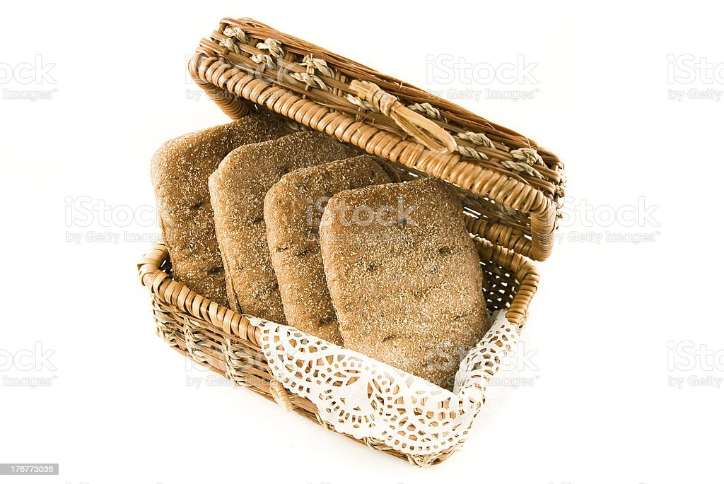 Rye bread in a straw basket royalty-free stock photo