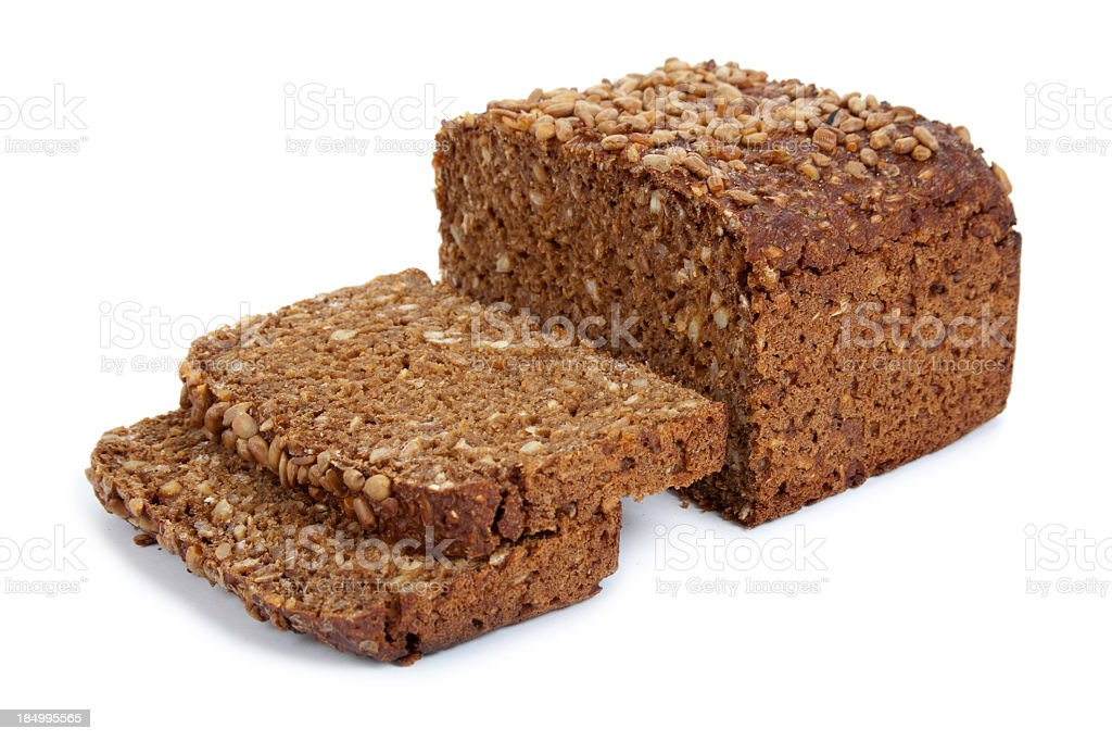 Rye bread on white background stock photo