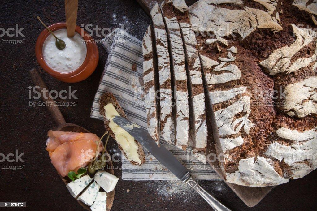 Rye bread sandwich ingredients stock photo