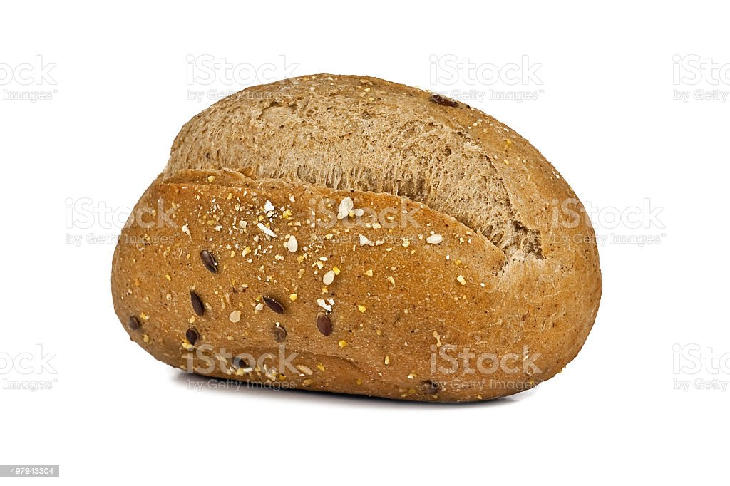 rye bun with bran stock photo