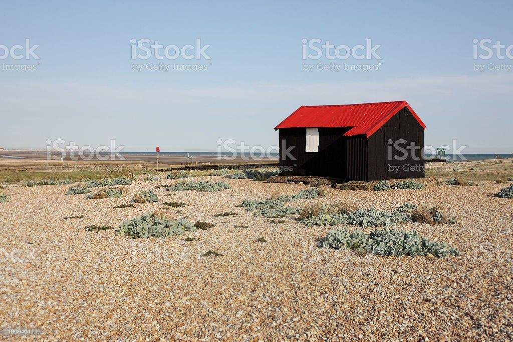 Rye harbour, East Sussex, Fishermans hut royalty-free stock photo