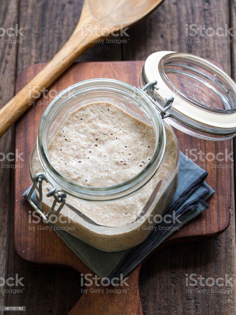 Rye sourdough starter stock photo