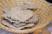 Rye tortillas on the wicker plate