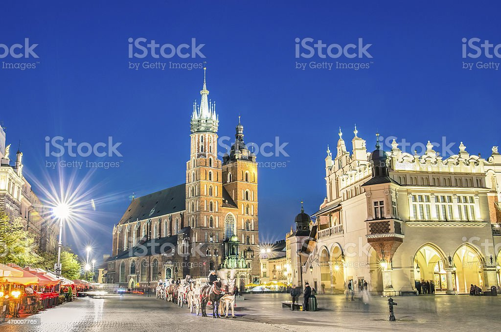 Rynek Glowny - The main square of Krakow in Poland stock photo