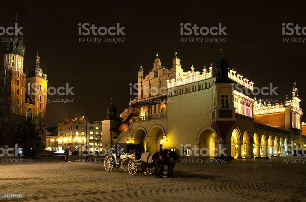 Rynek Main Market Square by Night ,Krakow,Poland stock photo