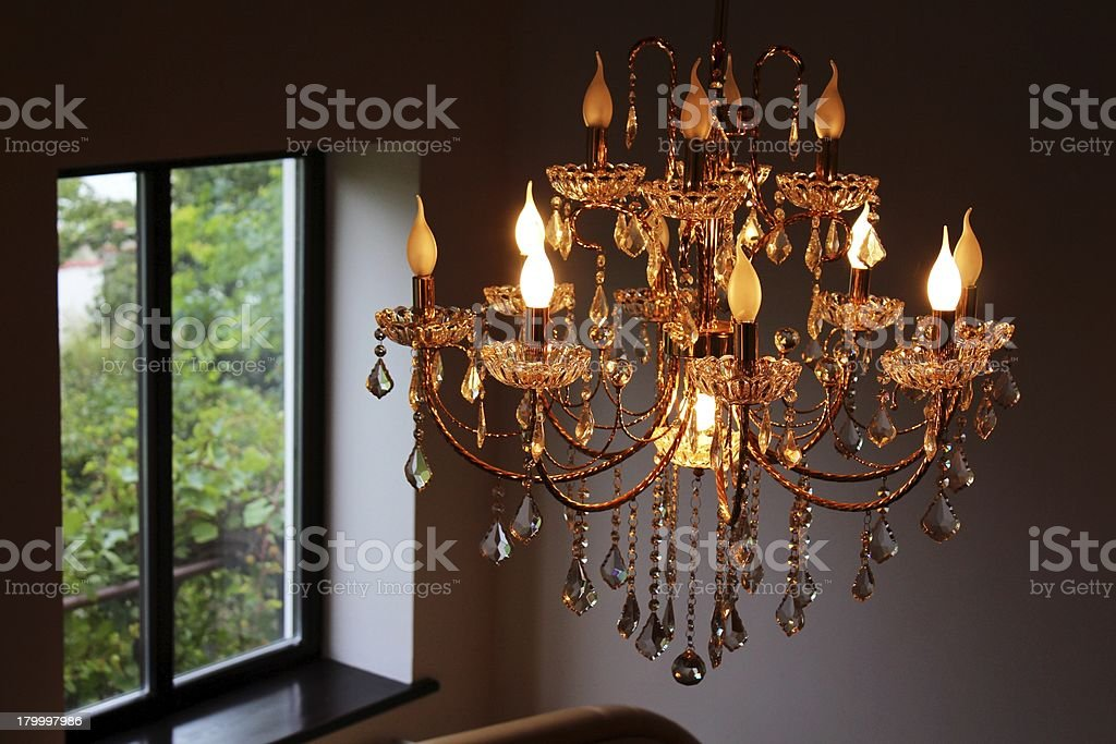 Сrystal chandelier in light royalty-free stock photo