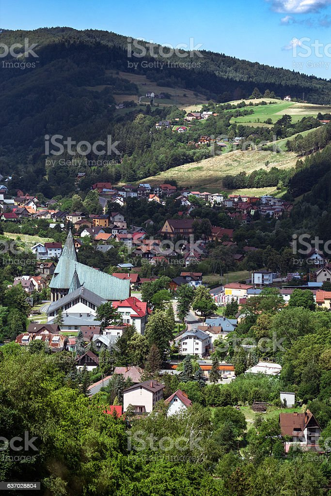 Rytro Village in Beskid Sadecki, Poland. stock photo