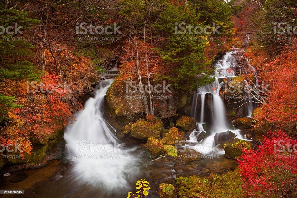 Ryuzu Falls near Nikko, Japan in autumn stock photo