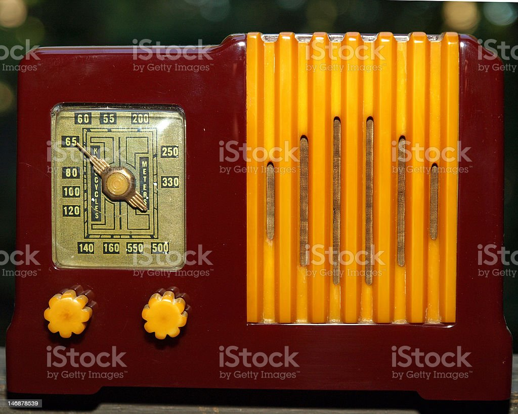 1930's Antique Vintage maroon and yellow bakelite Art Deco Radio royalty-free stock photo