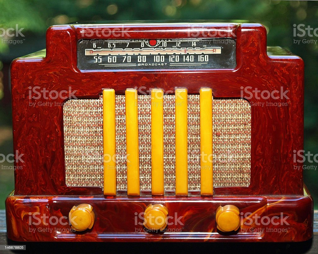 1930's Antique Vintage red catalin bakelite Art Deco Radio royalty-free stock photo