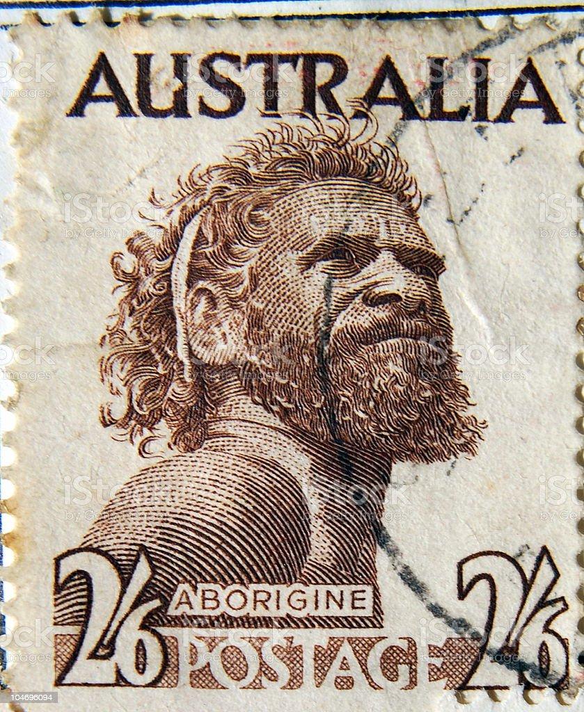 1950's Australian stamp featuring Gwoya Jungarai, an Aboriginal elder royalty-free stock photo