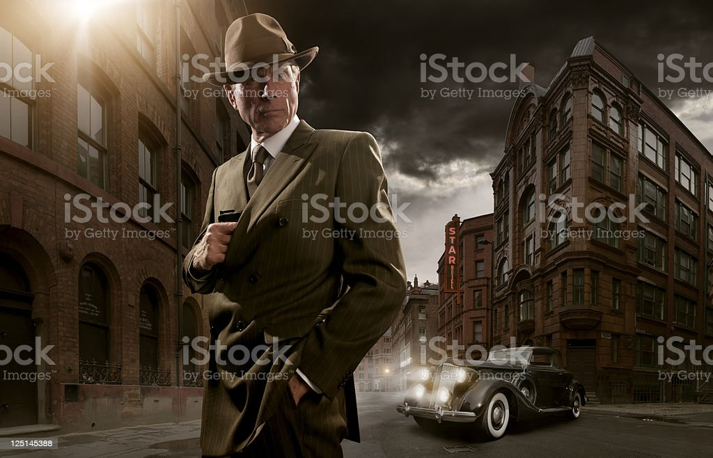 1940's noir gangster stock photo