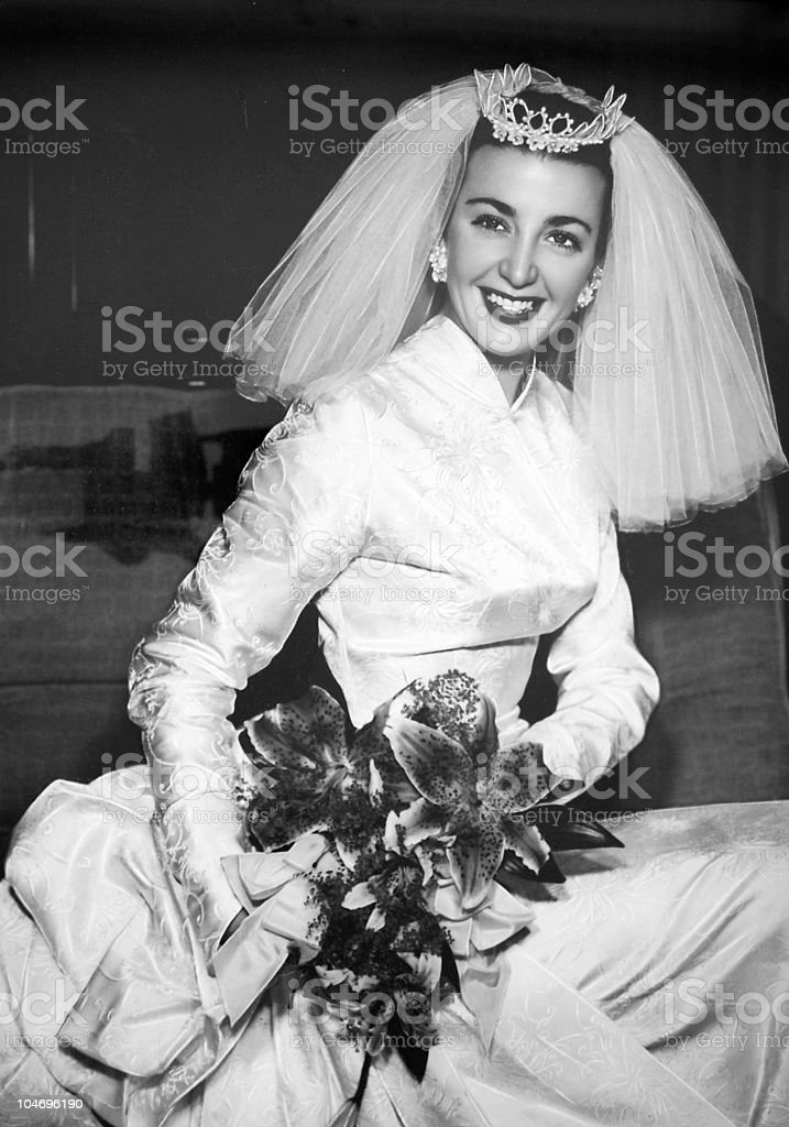 1950's bride in black and white royalty-free stock photo