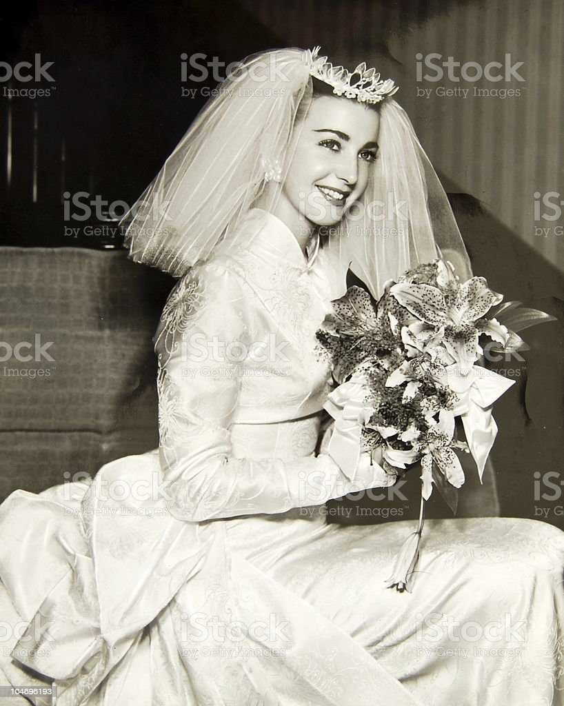 1950's bride in sepia royalty-free stock photo
