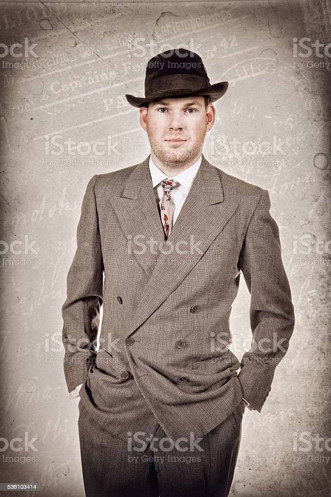 1940's Business Man In Suit Hat and Tie stock photo