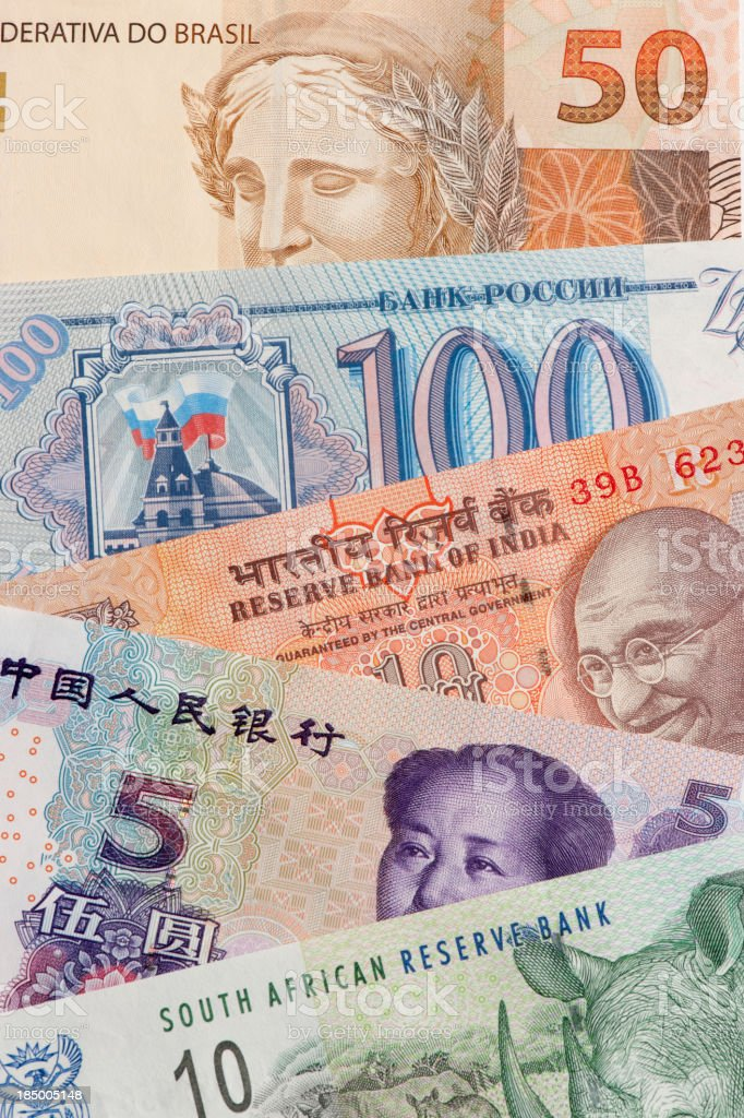 BRIC's countries bank notes stock photo