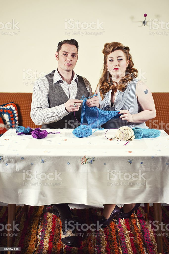 50's Couple - knitting royalty-free stock photo