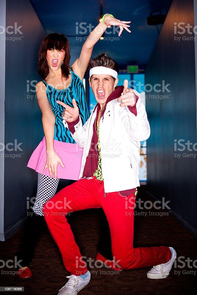 80's Couple Striking a Pose royalty-free stock photo