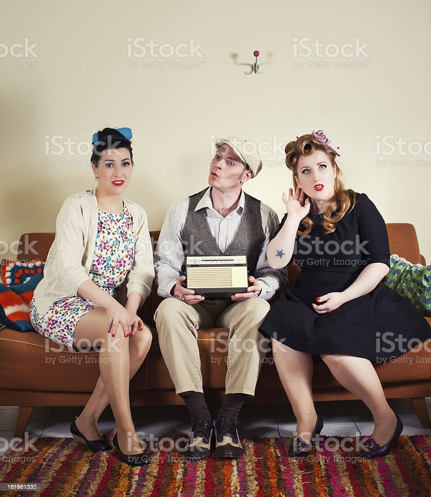 50's - Friends listen to radio royalty-free stock photo