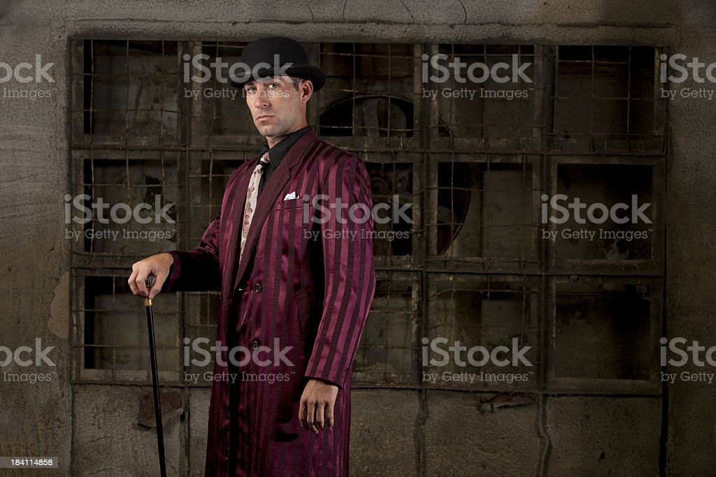 1940's gangster pose stock photo