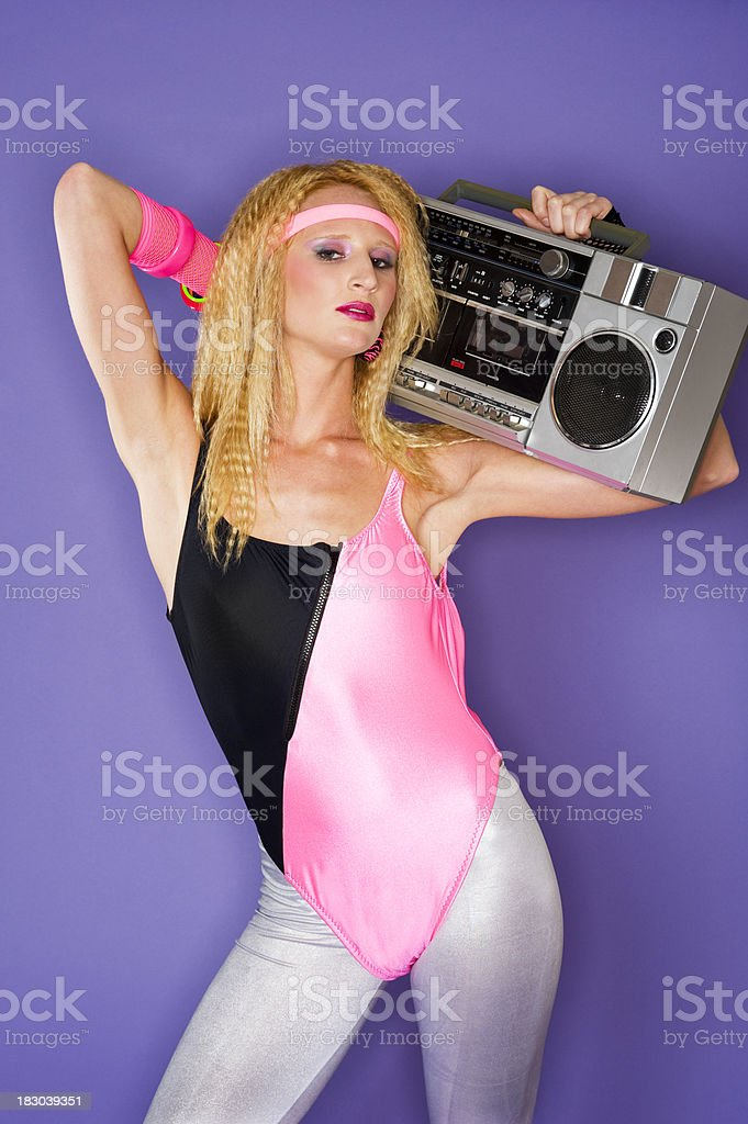 80's girl and a ghetto blaster royalty-free stock photo